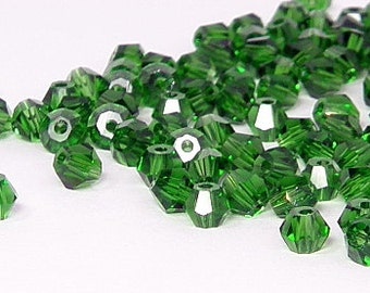 4mm Bicone Crystals, Peridot, 25 count
