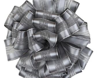 Silver Fortress, Wired Edge Ribbon, 2-Inch by 22-Yard, Silver gift wrap, holiday ribbon, retro ribbon