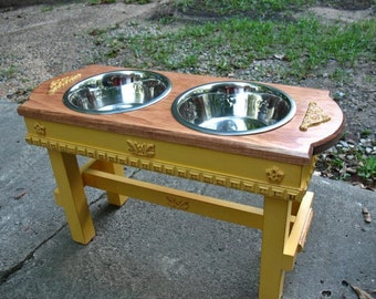 Marigold, Distressed, Two Bowl, Elevated Pet Feeder, Dog Bowl, Autumn Glow Stain, Large Dogs, Pet Stand, Made To Order