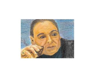 ACEO 2.5x3.5 Art Print of Original Prismacolor Pencil Drawing James Gandolfini on Sopranos Tony Soprano Mafia Man Realistic Modern