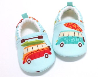 Volkswagen Baby Shoes, Soft Sole Baby Shoes, VW Van Baby Booties, Baby Shower Gift, Toddler moccasins, Surfer baby, aqua baby shoes