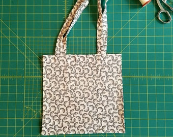 Butterfly Print Fat Quarter Tote Bag, Fabric Gift Bag, Small Cotton Tote