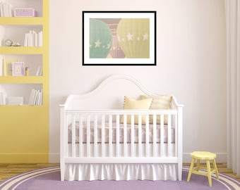 Baby Girl Nursery - Large Wall Print - 20x30 photograph - Pastel Carnival Hot Air Balloons - vintage nursery art