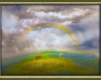 After storm - storm, clouds, horses, rainbow, nature,