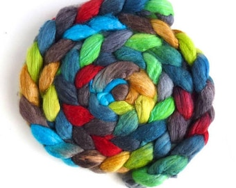 Polwarth/Silk 60/40 Roving - Handpainted Spinning or Felting Fiber, Flashing Cardinal