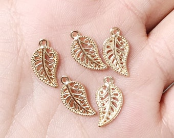 Set of 30, Gold Leaf, Nature Charm, Gold Charm, Gold Leaf Charm, Wilderness Charm, Small Leaf Charms, Metal Charms, Metal Leaf,