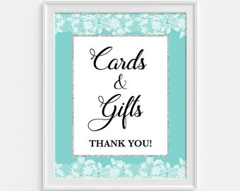 Cards and Gifts Shower Sign, Turquoise and White Lace Shower Table Sign, Wedding, Bridal Shower Sign, INSTANT DOWNLOAD