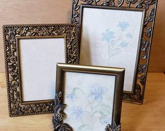 Beautiful Bronze Tone Metal Picture Frames,  Set of 3