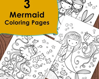 3 Mermaid Coloring pages, Under the sea, Ocean fun mermaid coloring pages,kids coloring page