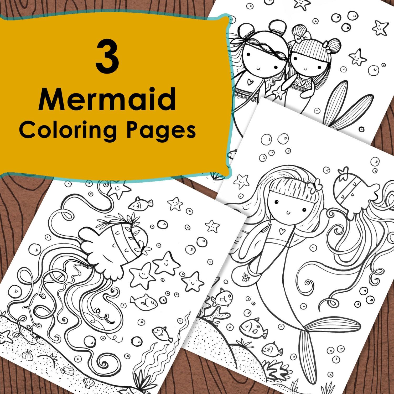 3 Seiten Mermaid Färbung unter dem Meer Ozean Spaß