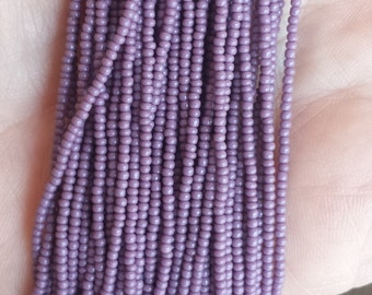 10 Hanks of Size 14 Opaque Purple Czech Seed Beads