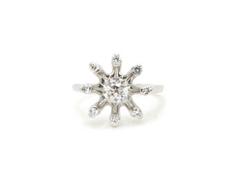 Vintage Platinum Old European Cut Diamond Starburst Ring - .60 ct total - Size 6