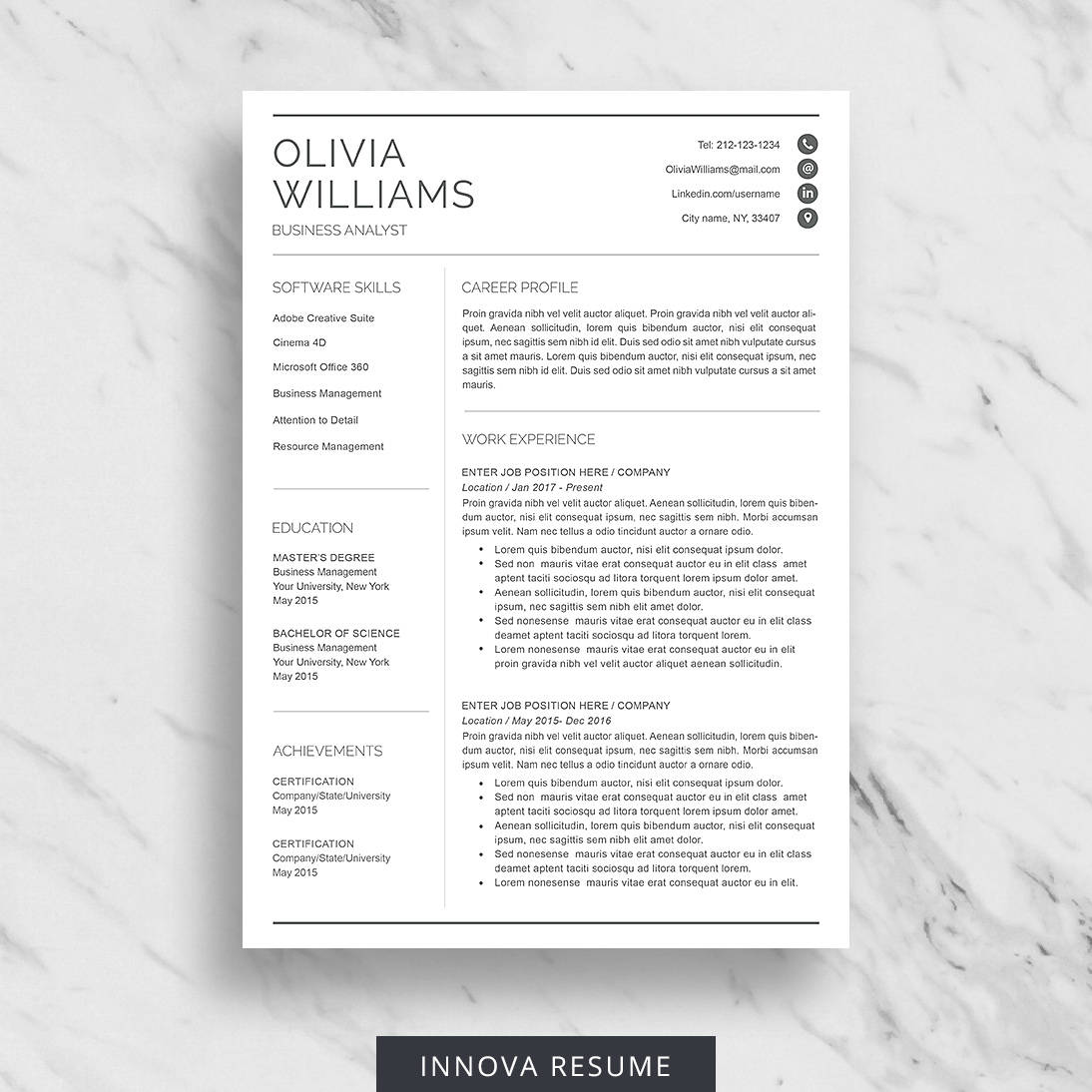 Professional Resume Template For Word Modern Resume Design