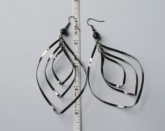 Dangle Earrings Oxidized Black Earrings Chic Earrings Black Drop Earrings Long Black Earrings