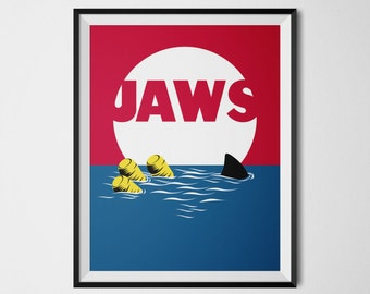 Jaws Poster, Jaws Print, 80s Movie Posters, Movie Printables, Jaws Movie Poster, Minimal Wall Art, Film Poster Art, Movie Art, Minimal decor