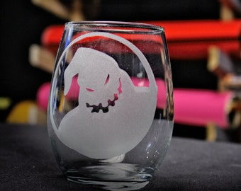 Oogie Boogie Nightmare Before Christmas Etched Wine Glass.
