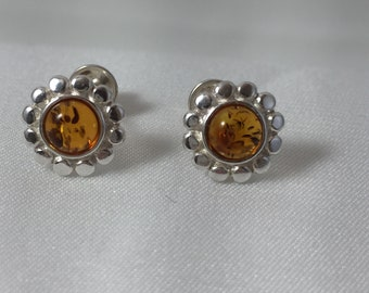 Floral Stud Earrings .Baltic Amber Earrings  .Silver.925  Floral Jewelry . Cognac amber shape Rond