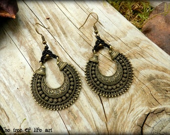 Macrame earrings/Gypsy earrings/Boho chic jewelry/Long earrings/Micromacrame/Bronze/Vintage style/Thetreeoflifeart