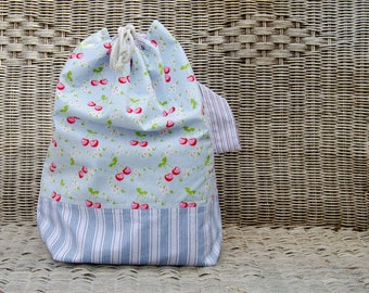 Drawstring Project Bag - Vintage Cherries - Extra Large
