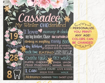 Winter Onederland First Birthday Chalkboard, Pink and Gold Floral Chalkboard, 1st Birthday Poster, Winter Onederland, Milestones Board