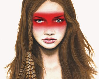 Warrior - pan pastel & colouring pencil Fashion Illustration - Giclee Art Print