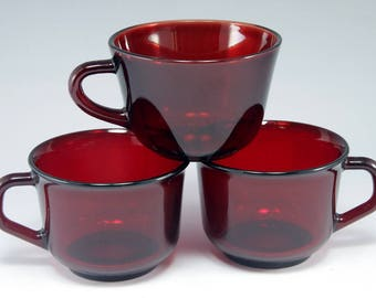3, Ruby, Red, Glass, Cups, Arcoroc, France, Mugs, Home Decor, Gift, Gift for Him, Birthday Gift, Hollywood Regency, Vintage, Christmas Decor