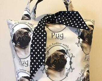 Pug dog print handbag