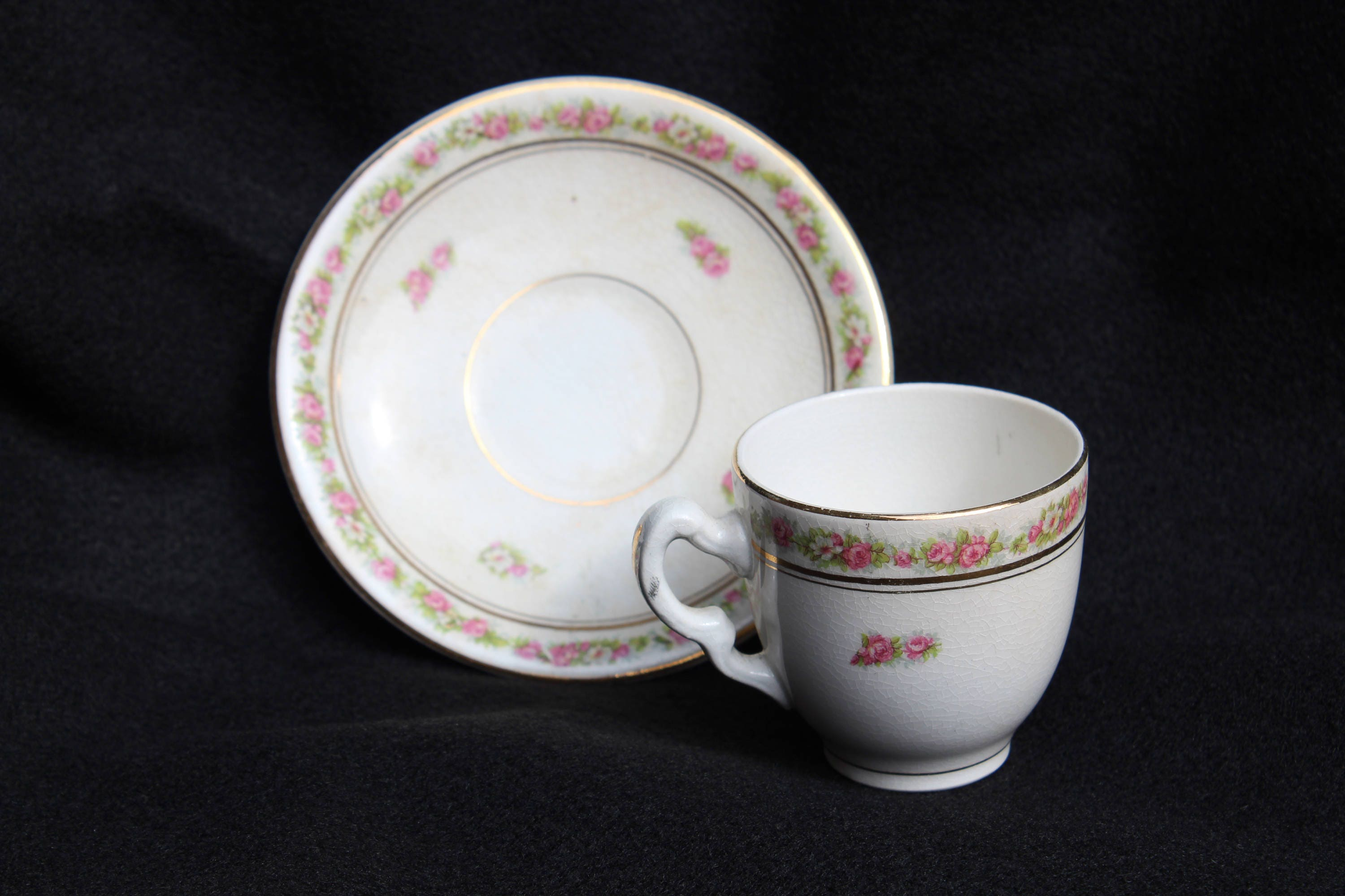 gallery photo gallery photo ... & Demitasse Tea Cup and Matching Saucer by Mercer Semi Vitreous Circa ...