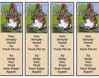 Printable Kids Bookmarks  Beatrix Potter The Nice Rabbit Original Art Kids Party Favor Idea Instant Download jpg file