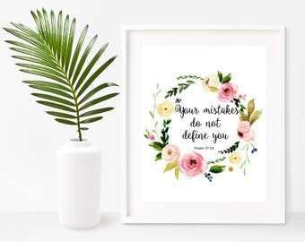 Inspirational Print, Your Mistakes do Not Define You, Bible Verse Print, Scripture Print, Instant Download, Wall Decor, Bible Wall Art