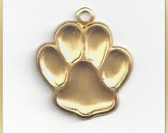 12 Animal Paw Print Raw Brass Charms