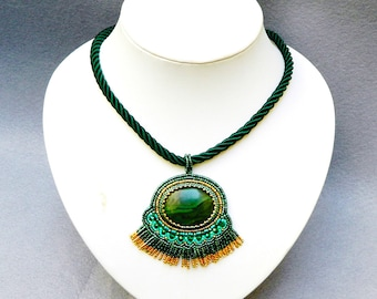 Bead embroidery statement necklace with malachite pendant unique jewelry bead embroidered malachite necklace outstanding jewelry