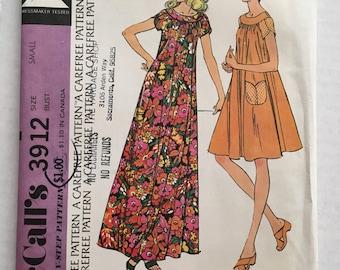 Muu Muu Dress Shift Pockets Vintage 1973 McCalls 3912 Size Small 10 12 Sewing Pattern Uncut Factory Folded FF UC Womens Misses