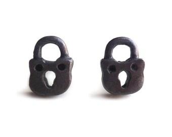 Padlock Earrings - Small Padlocks - Miniature Padlocks - Tiny - Black Padlock Earrings - Gifts Under 35 - Made In Brooklyn  - Andyshouse