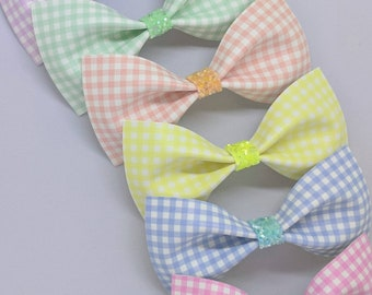 """Pastel Gingham Hair Bow-Alligator Clip-Baby Headband-Photo Prop-Faux Leather-Toddler Hair Accessories-4"""" hair bow"""