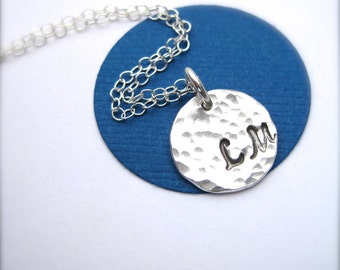 Silver Initial Necklace, Personalized Gift for Mom, Monogram Necklace, Custom Jewelry