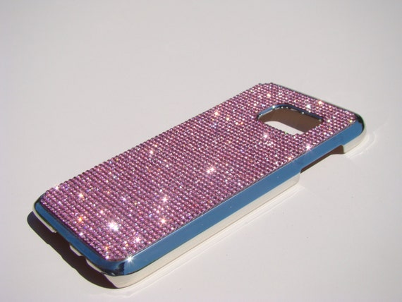 Galaxy S7 Case Pink Diamond Rhinestone Crystals on Silver Chrome Case. Velvet/Silk Pouch Bag Included, Genuine Rangsee Crystal Cases