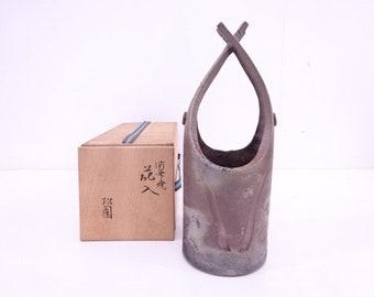 Japanese Pottery Bizen Ware Flower Vase Artisan Work