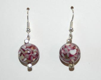 Pink and white glass Pearl Earrings