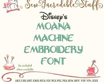 Disney's Moana Machine Embrodery font