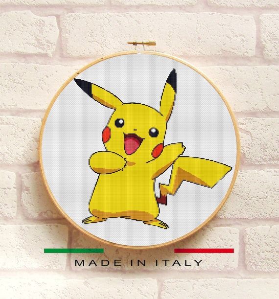 PIKACHU POKEMON, Cross Stitch Pattern PDF, Embroidery Chart Cute ...