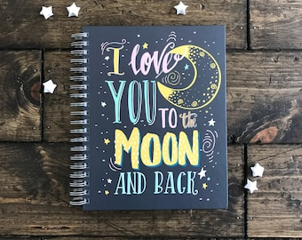 Custom Baby Memory Book. Personalized Baby Shower Book. Baby Shower Sign in book. To The Moon and Back Custom Journal. Photo Baby Book.