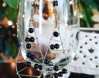 Guitar String Earrings with Black Glass Beads