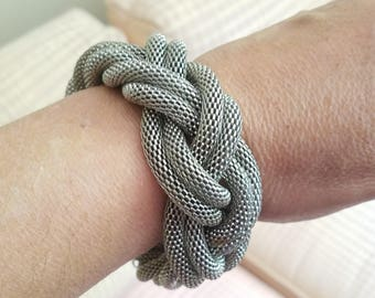 Chunky Silver Mesh Bracelet Braided Double Vintage Costume Jewelry Large Statement Infinity Bangle Unique One of a Kind Designer Modernist