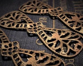 3pc Quality 50mm Vintage Bare Brass Victorian Filigree Ornate Dapt Large Bow Makes Flower Cross Bare Raw Gold Tan Bronze Patina Flower 1Lb