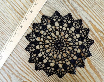 Colorful Black Doily - Crochet Doily - Modern Crochet Decor - Crochet Table Decor - Table Centerpiece - Black Centerpiece - Intricate Doily