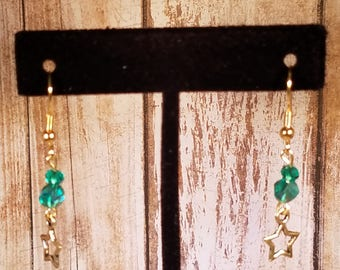Gold Star Earrings with Teal Accents