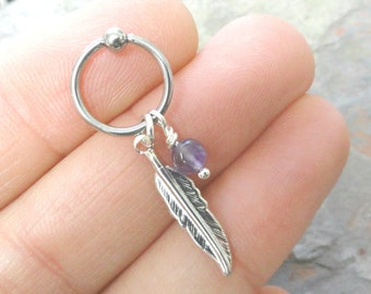 Purple Amythest Cartilage Hoop Silver Feather CBR Earring Belly Button Jewelry