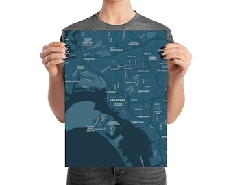 magnificent poster with the map of San diego, California