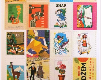 """Stamp sticker stickers for scrapbooking retro vintage """"model 7"""" 1 embroidery sheet of 20 stamps"""